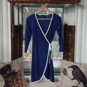 Long Sleeve Ribbed Wrap Mini Dress
